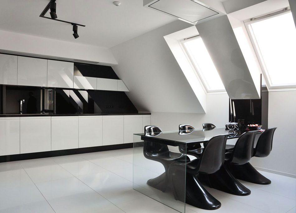 Galer a de im genes decoraci n en color negro - Cocina blanco y negro ...