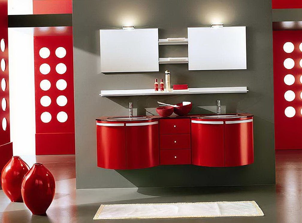 Galer a de im genes decoraci n en color rojo for Muebles de bano rojos