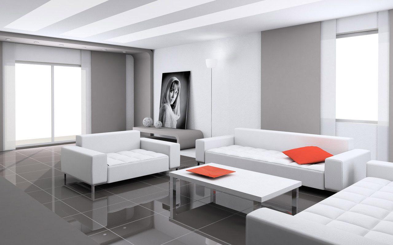 Galer a de im genes decoraci n en color blanco for Salon completo moderno