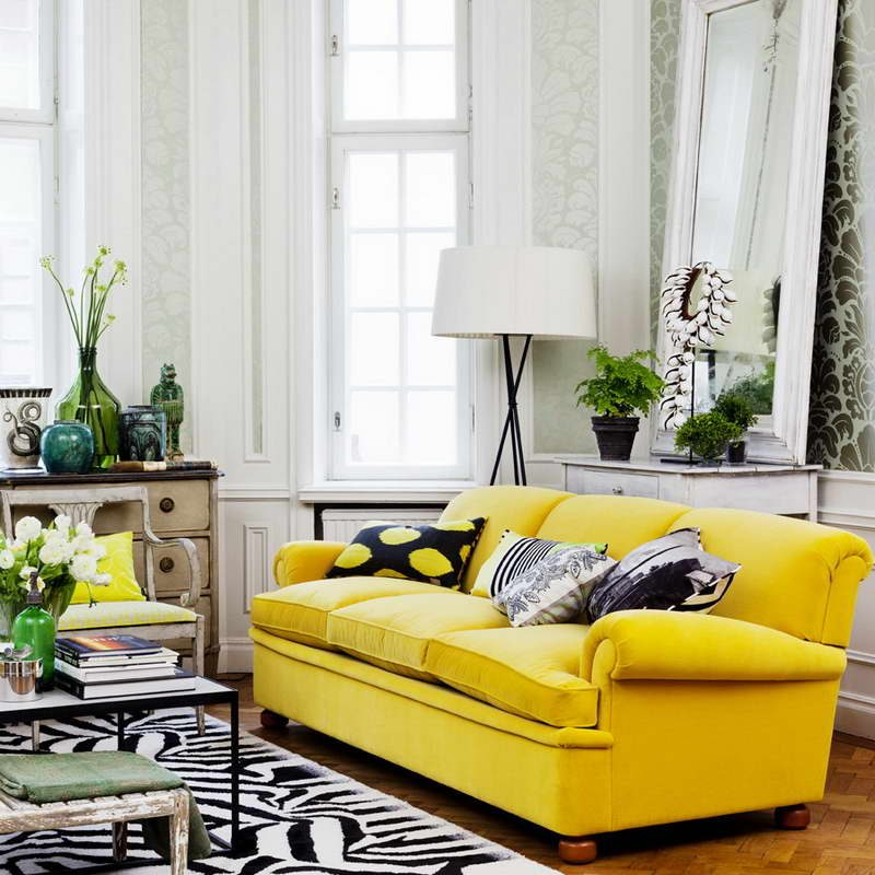 Galer a de im genes decoraci n en color amarillo - Sofas amarillos color paredes ...